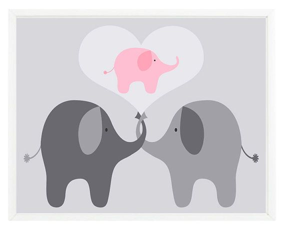 Elephant Nursery Wall Art Print   Mom Baby Dad Family Love Heart Pink