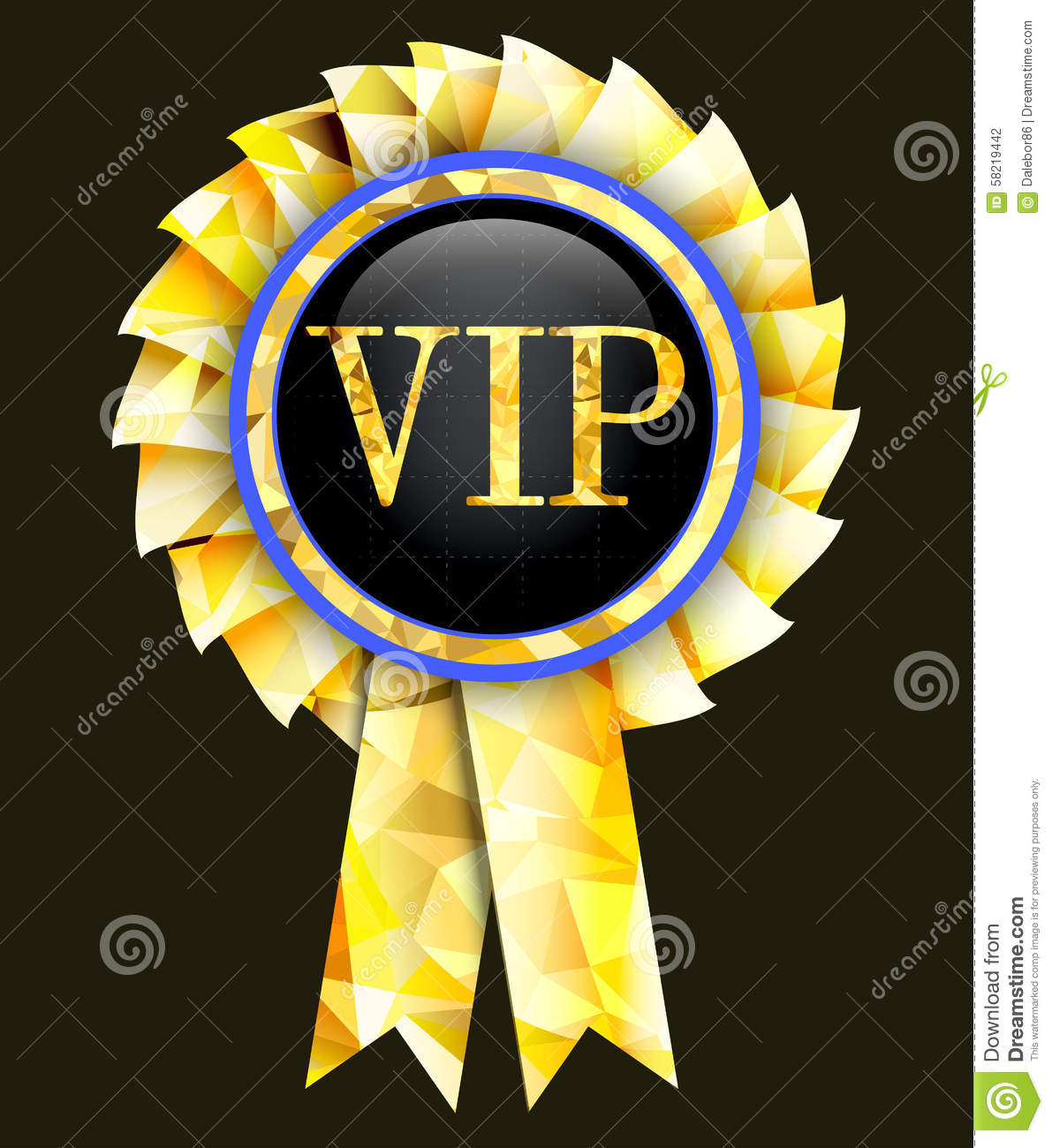 Golden Badge With The Inscription Vip Vector Illustration