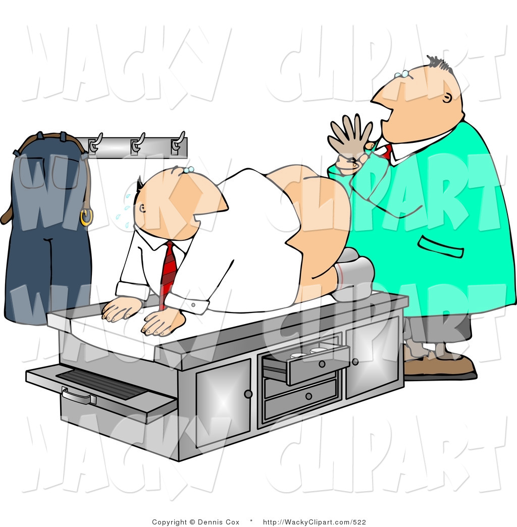 Proctologist Giving Patient A Prostate Exam   Humorous Medical Clipart