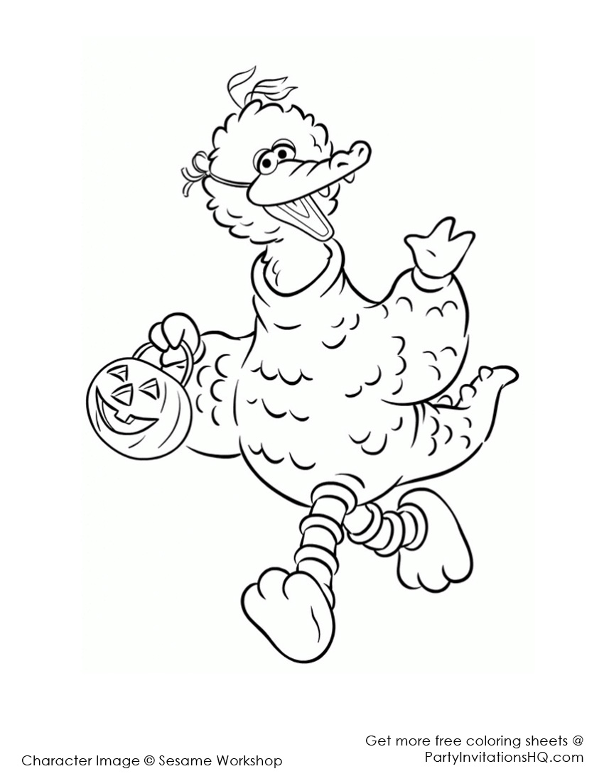 Sesame Street Big Bird Clipart Clipart Suggest Big Bird Coloring Pages Free