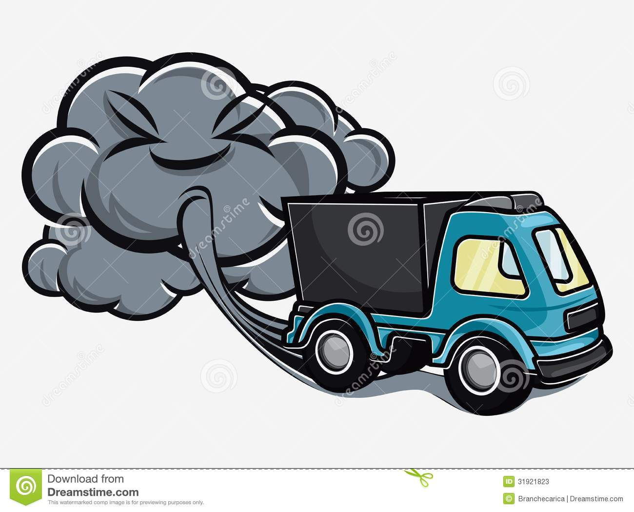Vector Illustration Of The Cartoon Truck Blowing Exhaust Fumes