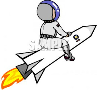 0511 0903 2722 5551 Astronaut On The Outside Of A Rocket Clipart Image