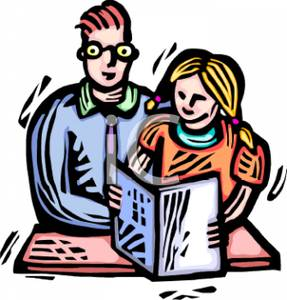 Cartoon Of A Tutor Helping A Student   Royalty Free Clipart Picture
