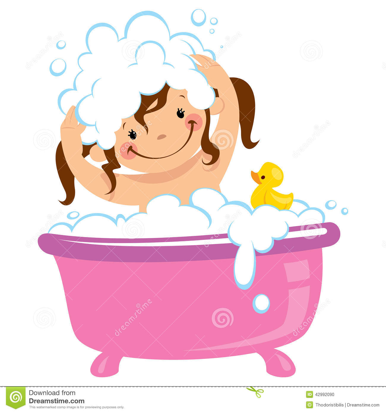 In Bath Tub And Washing Hair Stock Illustration   Image  42992090
