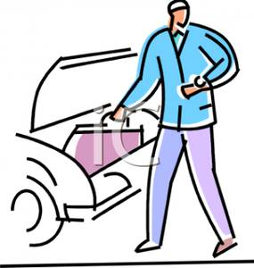 Of A Man Getting Luggage From His Car   Royalty Free Clipart Picture