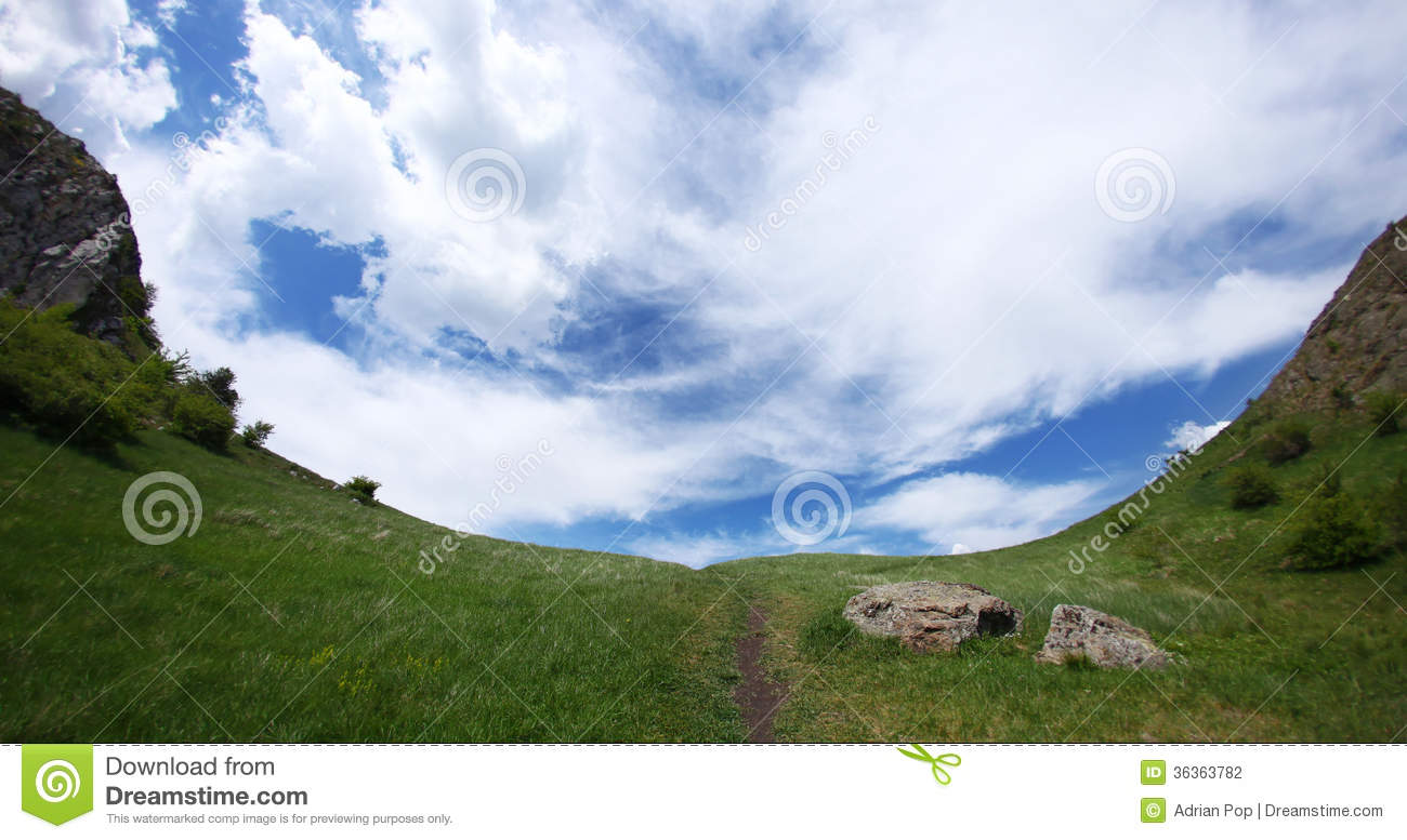 Amazing Mountain Landscape With Walking Trail In Middle Going In The