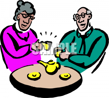 An Old Couple Drinking Tea Clipart Image   Foodclipart Com