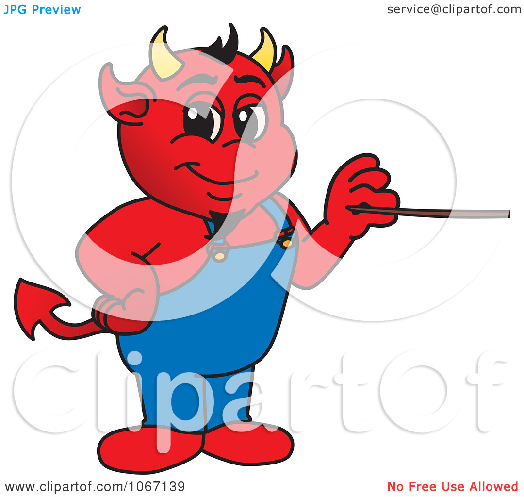 Clipart Devil Mascot Holding A Pointer Stick   Royalty Free Vector