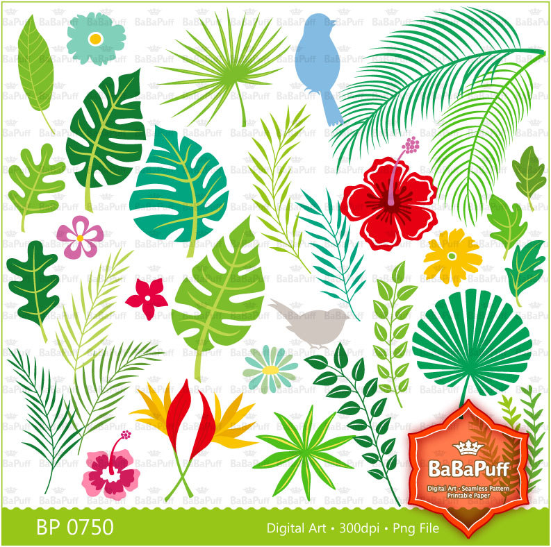 Instant Downloads Digital Tropical Leaves And Birds By Babapuff