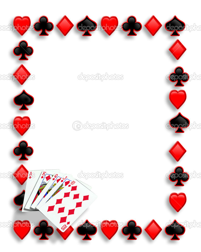 Playing Cards Suits Background Border Or Frame For Card Poker Game