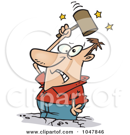 Royalty Free  Rf  Clip Art Illustration Of A Cartoon Man Holding His