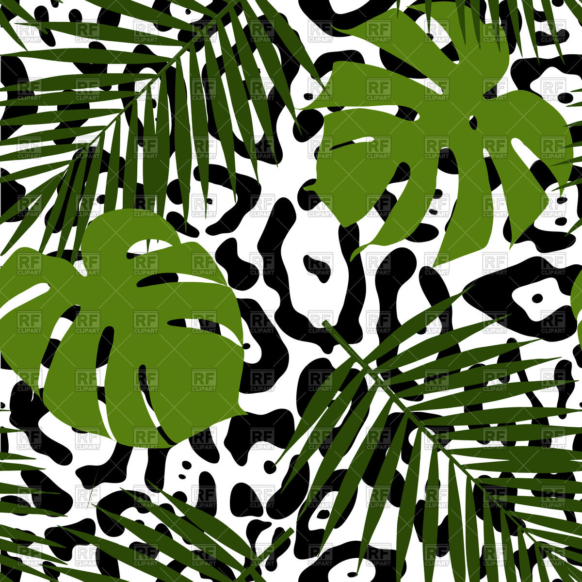 Tropical Leaves And Animal Skin Seamless Pattern 98879 Backgrounds