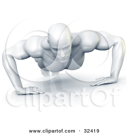 Clipart Illustration Of A Strong And Muscular White Man Doing Push Ups