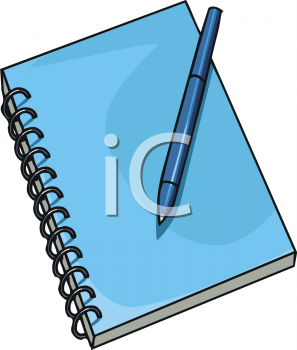 Clipart Picture Of A Spiral Notebook With A Pen