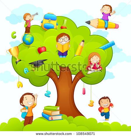 Illustration Of Kids Studying On Tree With Different Education Object