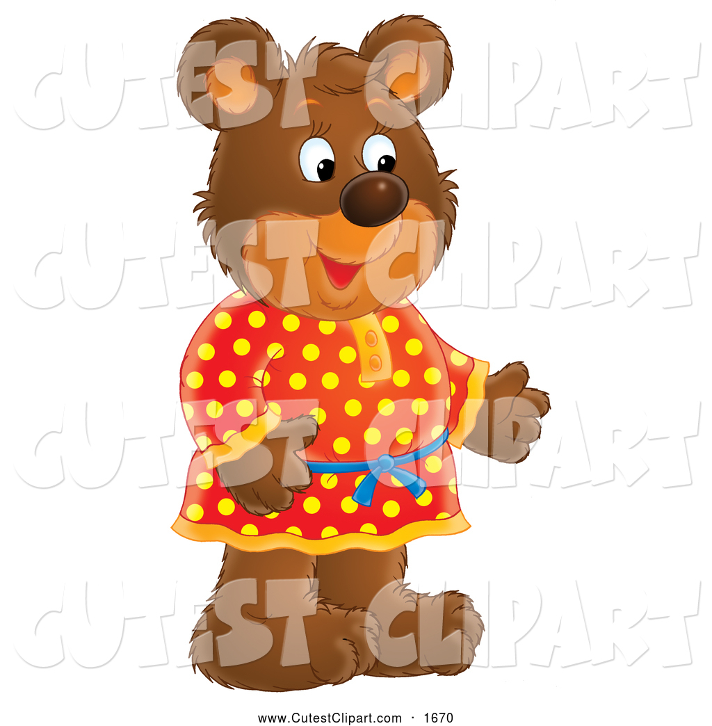 Larger Preview  Clip Art Of A Cute Friendly Bear In A Red And Yellow