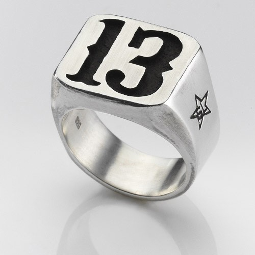 Lucky Number 13 Ring In Solid Silver And Black By Glamrockemporium
