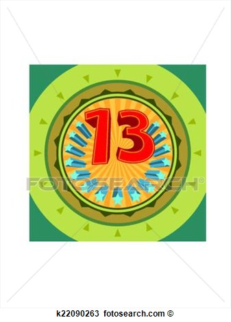 Number 13 Drawings Clipart Of Lucky Number 13 Thirteen K22090263