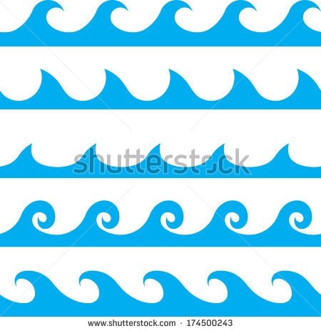 Seamless Vector Blue Wave Line Pattern   Stock Vector