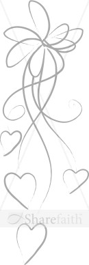 Silver Line Art Bow With Hearts   Valentines Day Clipart