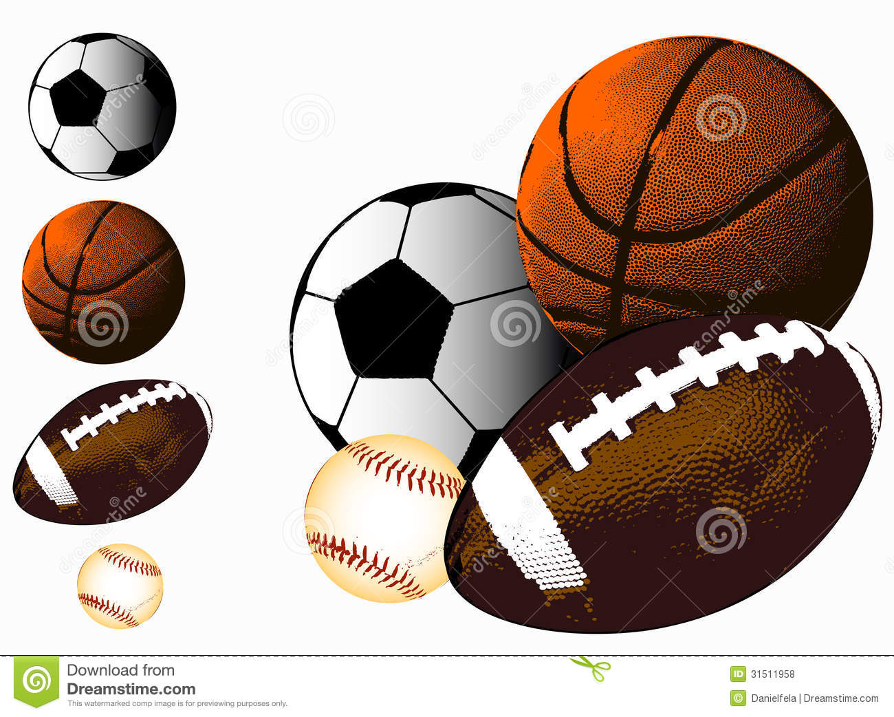 Sports Background Basketball Baseball American Football And Soccer