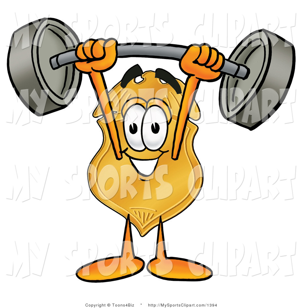 Sports Clip Art Of A Strong Badge Mascot Cartoon Character Holding A