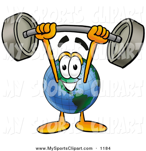 Sports Clip Art Of A Strong World Earth Globe Mascot Cartoon Character