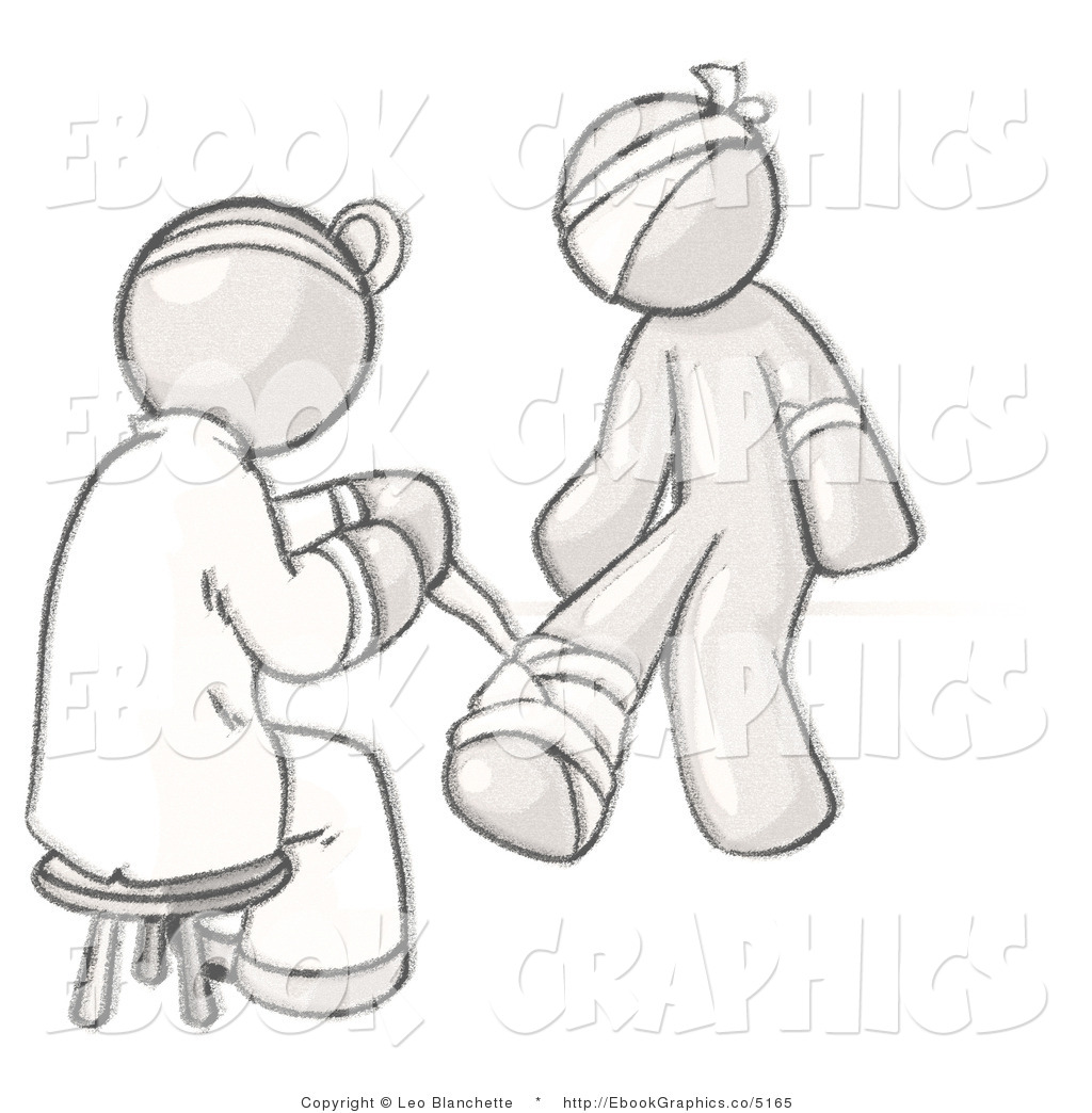 Vector Graphic Of A Sketched Design Mascot Doctor Bandaging An Injured