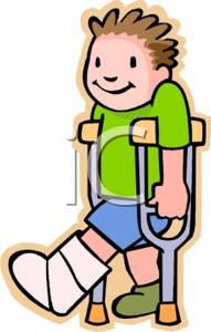 With A Broken Leg Hobbling On Crutches   Royalty Free Clipart Picture