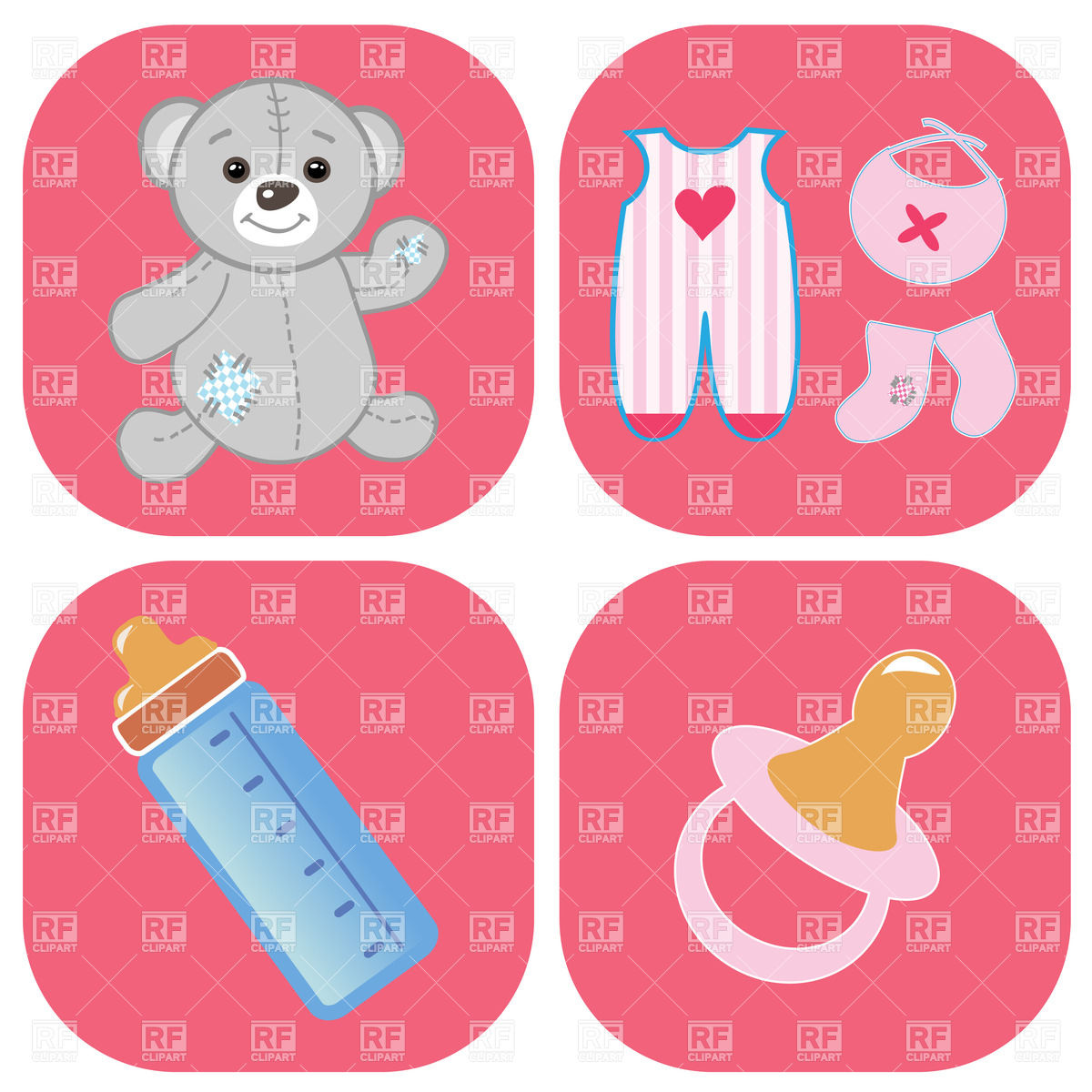 Baby Icons   Teddy Bear Bottle Pacifier And Childish Clothes 23450