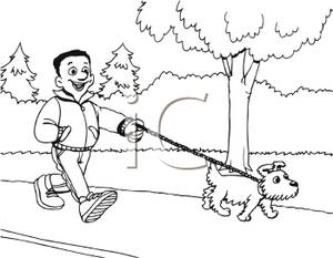 Black And White Cartoon Of Man Walking His Dog On A Sidewalk   Royalty