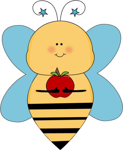 Blue Star Bee With An Apple Clip Art Image Cute Picture