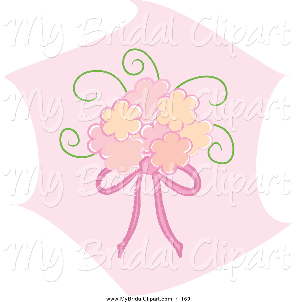 Bridal Clipart Of A Pink Bridal Bouquet With Pink Ribbons Over A Pink