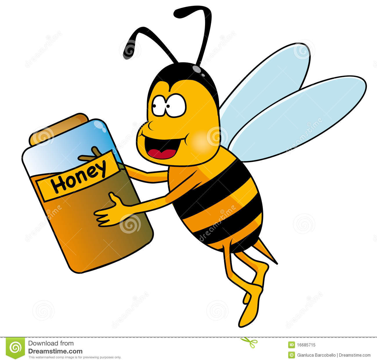 Clip Art Illustration A Happy Bumble Bee With A Honey Pot This