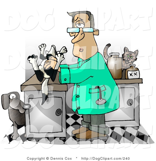 Clip Art Of A Male Vet Holding A Dead Dog On A Table