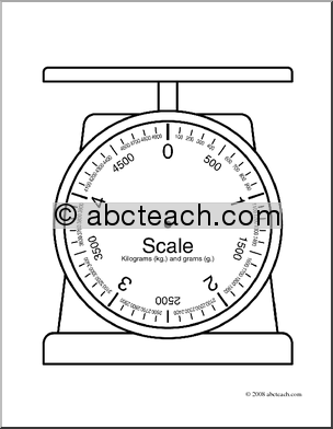 Clip Art  Weights And Measures  Kilogram Blank Scale  Coloring Page