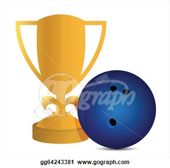 Clipart   Gold Trophy Cup Bowling On A White Background  Stock