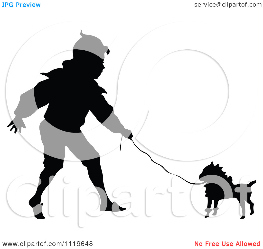 Clipart Of A Black And White Silhouetted Boy Walking A Dog   Royalty