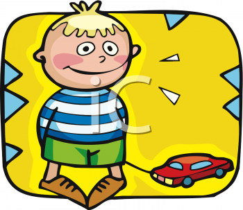 Clipart Picture Of A Small Boy Playing With A Pull Along Car Toy