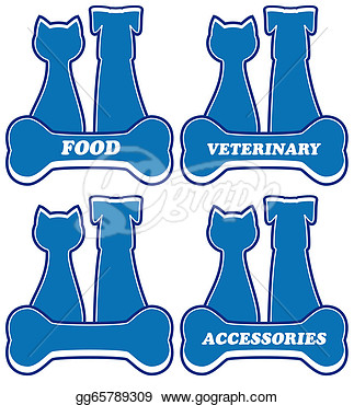 Clipart   Set Blue Icons For Pet Service  Stock Illustration