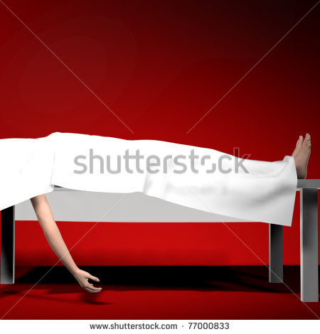 Corpse Under White Sheet On Autopsy Table Feet And One Arm Exposed