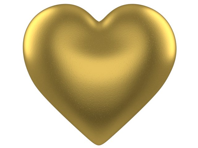 Gold 3d Love Heart With Transparent Background   Valentine Clip Art