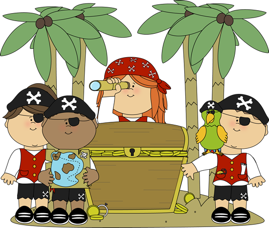 Pirate Kids Clip Art Image   Pirate Kids On An Island With A Treasure