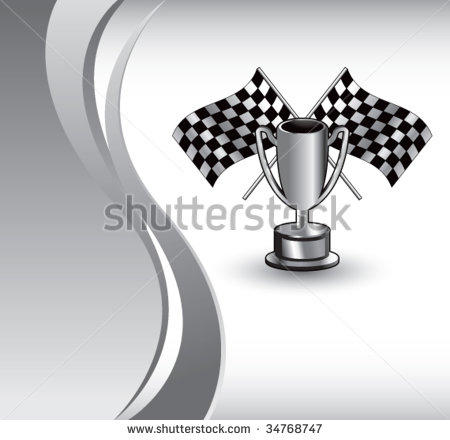 Racing Checkered Flags And Trophy On Vertical Wave Background Stock