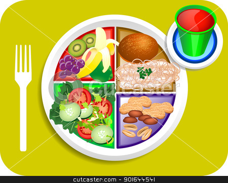 Vegan Lunch Food My Plate Stock Vector Clipart Vector Illustration Of