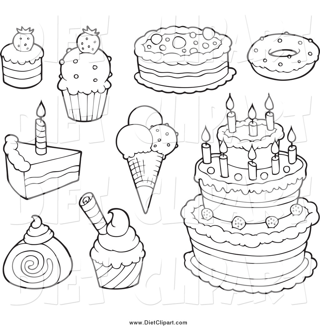 Line Drawing Round Cake
