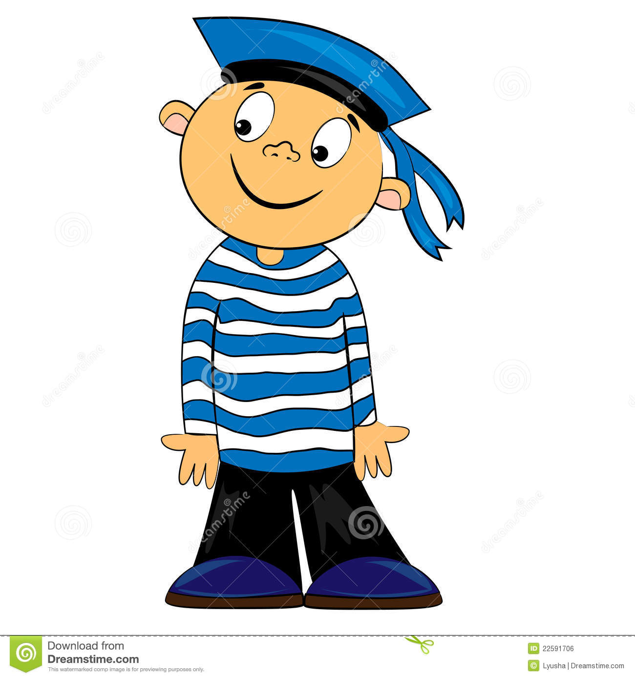 Cartoon Sailor Kid In Striped Shirt  Boy Character Isolated On White