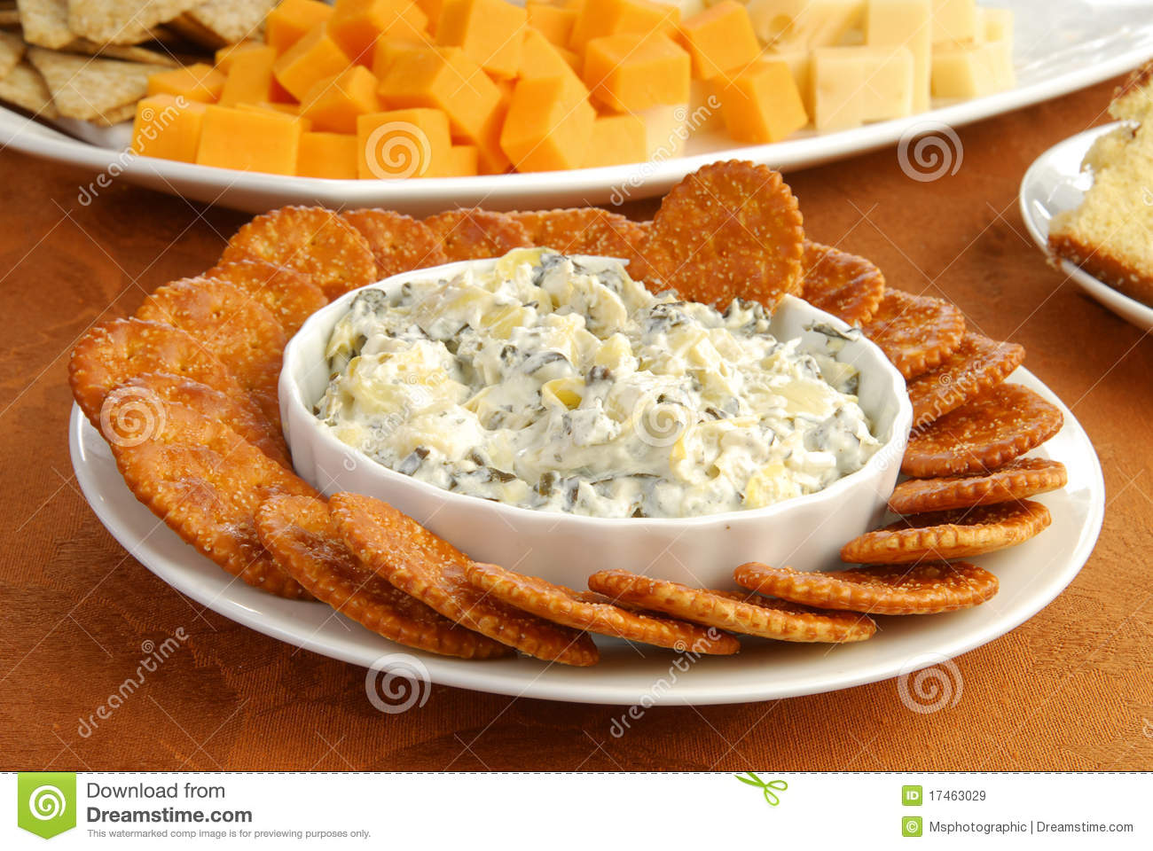 Cheese Dip And Crackers Royalty Free Stock Images   Image  17463029