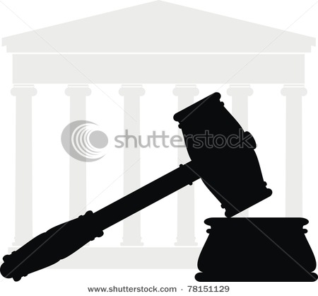 Clip Art Vector Silhouette Of A Judge S Gavel On The Soundboard With