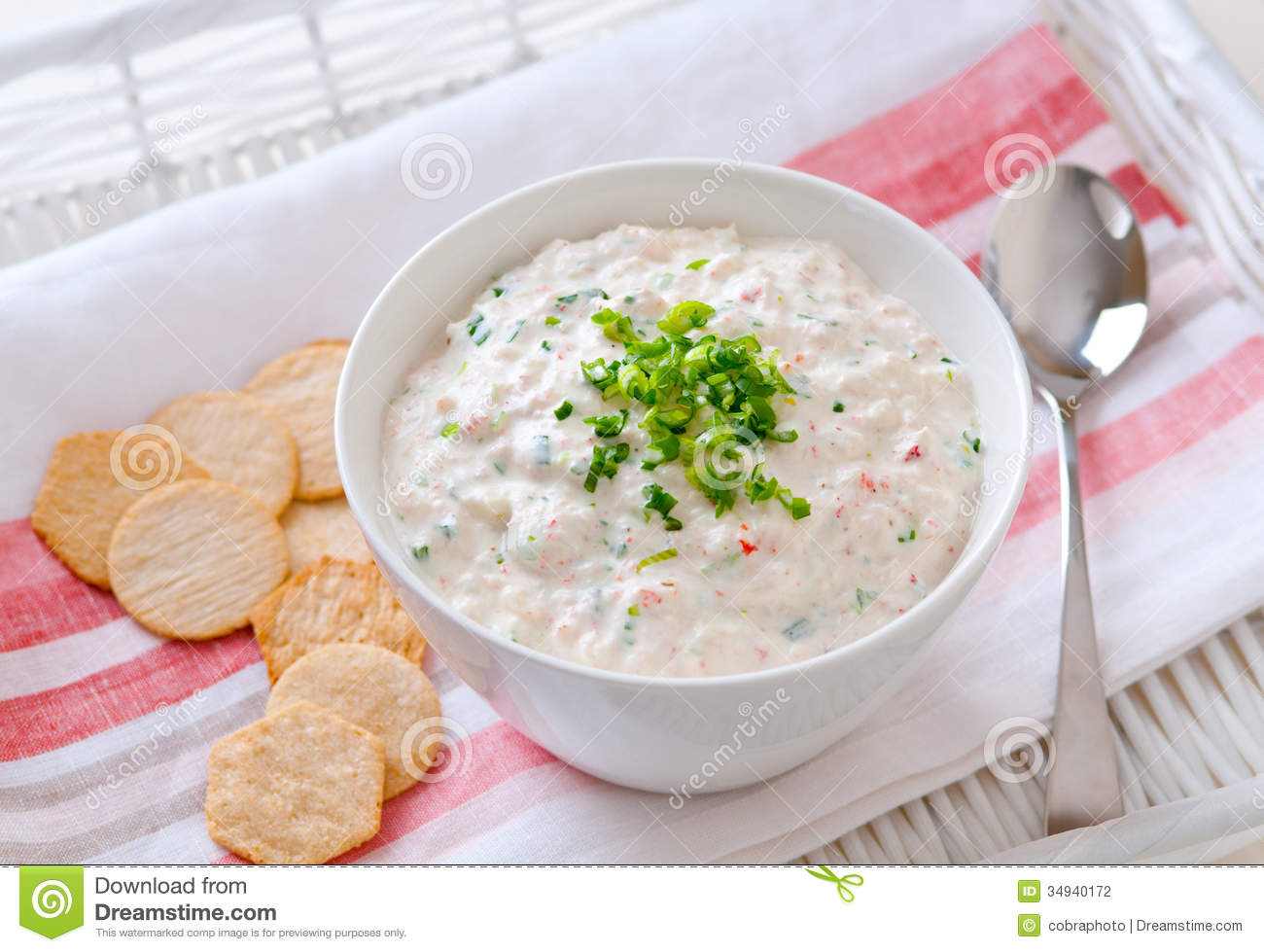 Closeup Of A Fresh Crab Dip With Crackers